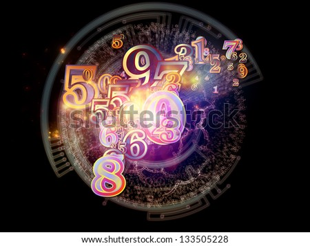 Digital Splash series. Visually attractive backdrop made of numbers, gradients and fractal elements suitable as background in layouts on the subject of mathematics, computers, science and technologies - stock photo