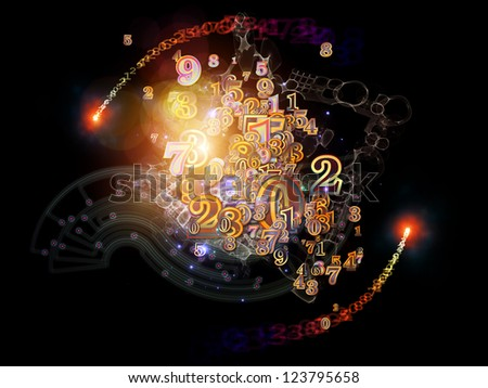 Digital Splash series. Visually pleasing composition of numbers, gradients and fractal elements to serve as supporting background for such subjects as mathematics, science and modern technologies - stock photo