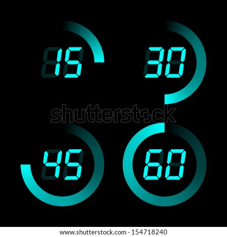Digital stopwatches on a black background - stock photo