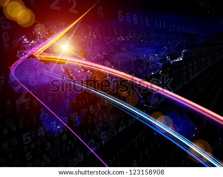 Digital Streams series. Backdrop composed of numbers, lights and design elements and suitable for use in the projects on digital communications, data transfers and virtual reality - stock photo