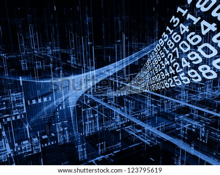 Digital Streams series. Composition of numbers, lights and design elements on the subject of digital communications, data transfers and virtual reality