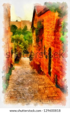 Digital structure of painting. European bystreet - stock photo