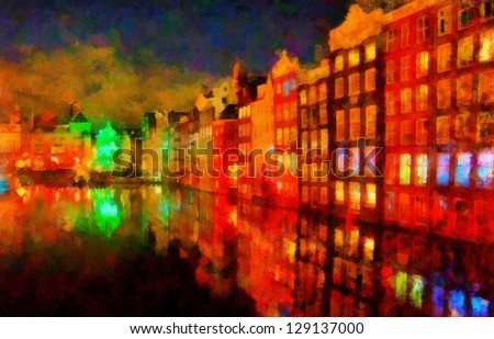 Digital structure of painting. Evening in the city - stock photo