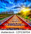 Digital structure of painting. Railway - stock photo