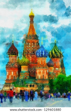 Digital structure of painting. St. Basil's Cathedral - stock photo