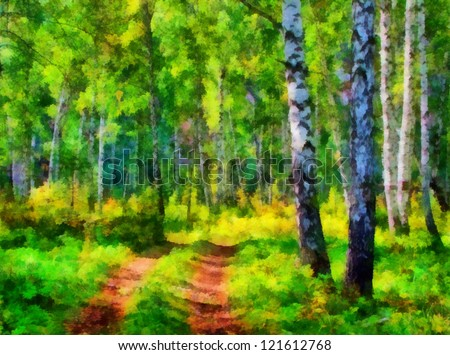 Digital structure of painting. Summer landscape in the forest - stock photo