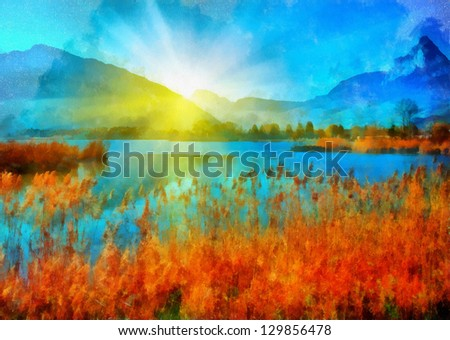 Digital structure of painting. Sunny landscape on river - stock photo