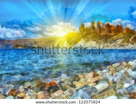 Digital structure of painting. Sunny spring landscape on the coast - stock photo