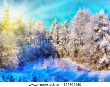 Digital structure of painting. Sunny winter forest