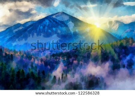 Digital structure of painting. Sunset in the mountains - stock photo