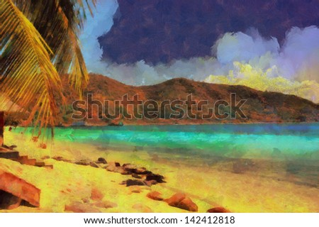 Digital structure of painting. Tropical beach - stock photo