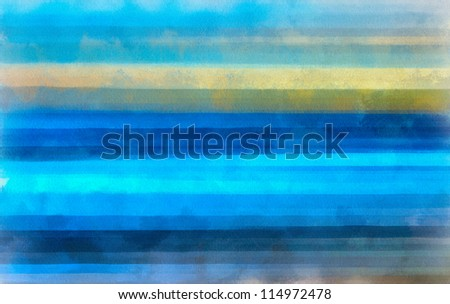Digital structure of painting. Watercolor blue lines background - stock photo