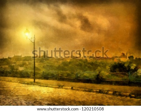 Digital structure of painting. Watercolor evening cityscape with - stock photo