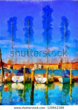Digital structure of painting. Watercolor seascape - stock photo