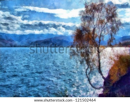 Digital structure of painting. Watercolor sunny landscape