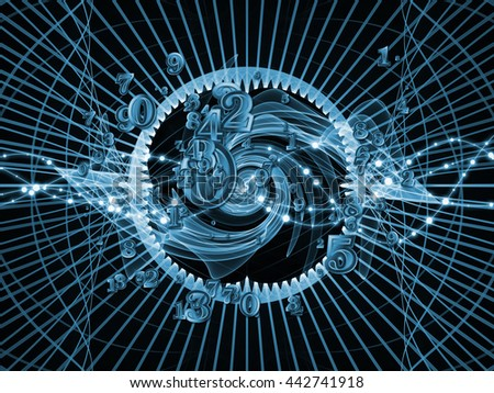 Digital Swirl series. Composition of digits and technological patterns suitable as a backdrop for the projects on math, science and education - stock photo