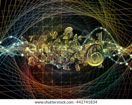 Digital Swirl series. Design composed of digits and technological patterns as a metaphor on the subject of math, science and education - stock photo
