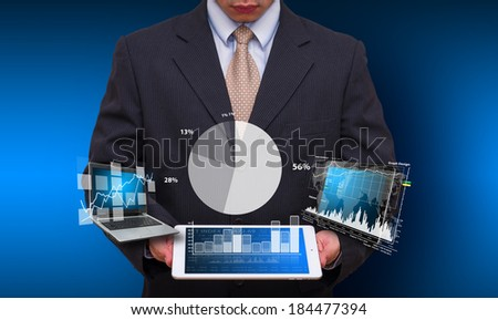Digital Tablet and business man : Elements of this image furnished by NASA  - stock photo