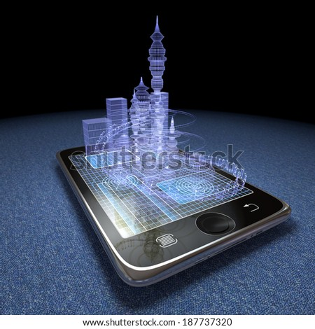 Digital tablet and futuristic town as progress concept background - stock photo