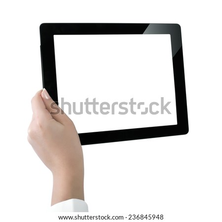 Digital Tablet And Hands With Four Clipping Paths  - stock photo
