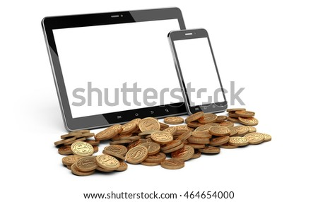 Digital tablet and smartphone with white screen and heap of coins. Stock market or gambling 3d concept.
