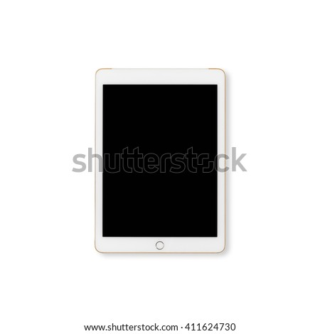 Digital tablet computer with isolated screen with clipping path isolated on white background. - stock photo