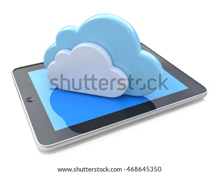 Digital tablet connected with cloud computing on the white background in the design of information related to computer technology. 3d illustration