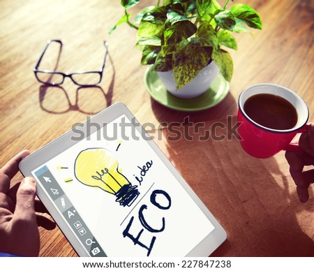 Digital Tablet Illustration Brainstorming Concept - stock photo