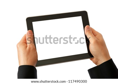 digital tablet in hands - stock photo