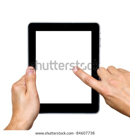 digital tablet in hands over white background - stock photo