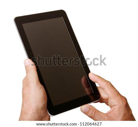 Digital tablet in man hands isolated on white surface.