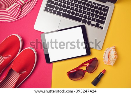 Digital tablet mock up template for summer holiday vacation. View from above. Flat lay - stock photo