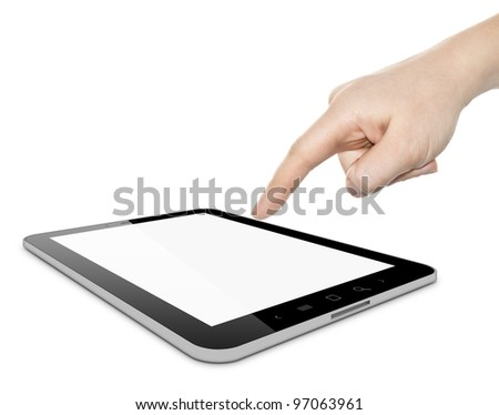 Digital tablet PC and woman hand pointing over white background - stock photo