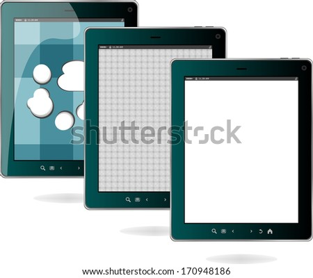 digital tablet pc set isolated on white