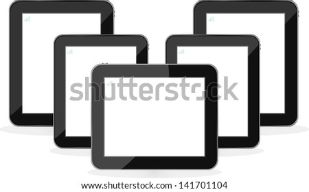 Digital tablet PC set isolated on white background, raster