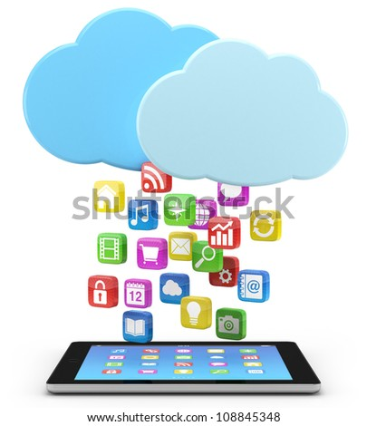 digital tablet pc with app icons and cloud - high quality 3d illustration - stock photo