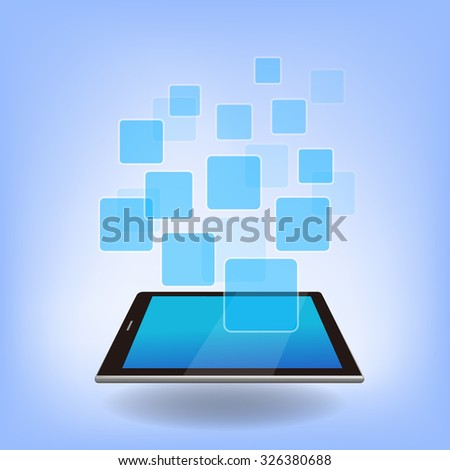 Digital Tablet pc with empty APP icon, great for you design or app or icon.
