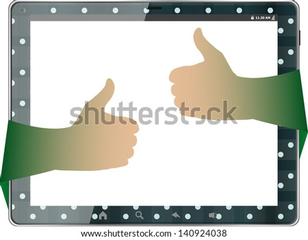 Digital tablet pc with girl hand, raster - stock photo