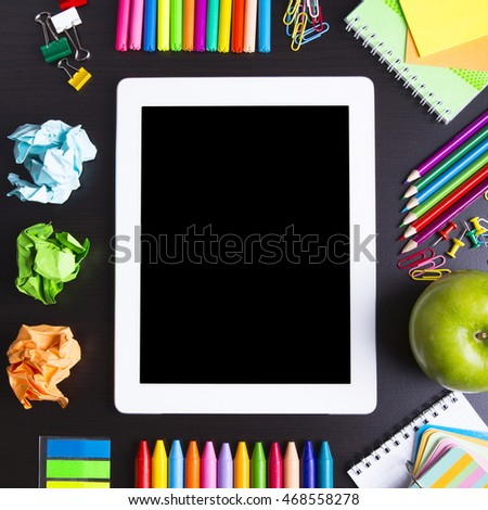 Digital tablet PC with school accesories