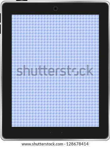 Digital tablet with abstract blue screen, raster - stock photo
