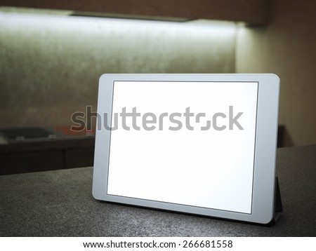 Digital tablet with blank screen. 3d rendering - stock photo