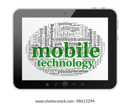 Digital tablet with mobile technology tag cloud concept on screen. - stock photo