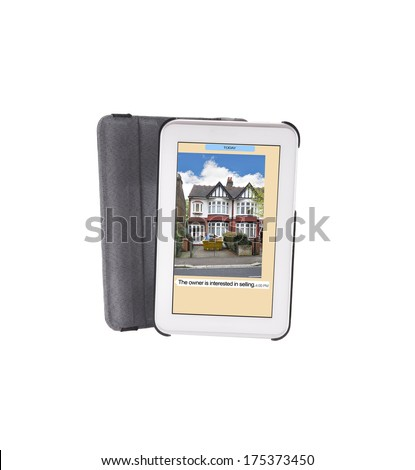 "Digital Tablet with text message ""The owner is interested in selling"" isolated on white background"