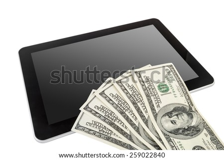 Digital Tablet with US Dollars on top. Isolate on white background with clipping path including screen. - stock photo