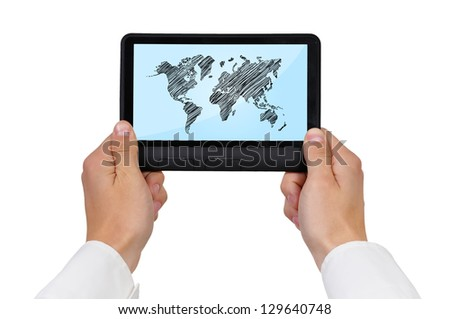 digital tablet with world map, closeup