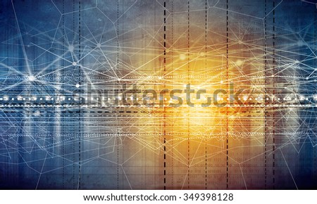 Digital technology background image with connection concept - stock photo
