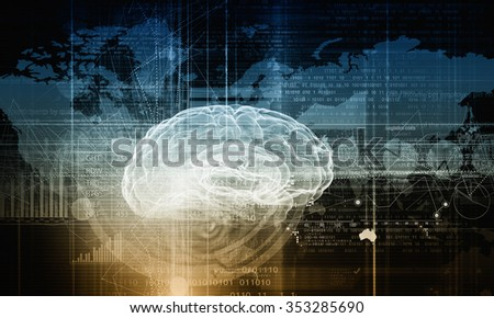 Digital technology background with human brain concept - stock photo