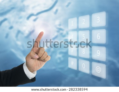 Digital technology concept with number of mobile and hand of business man