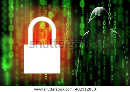 Digital technology data encryption can prevent hacker or data leak in matrix (hidden data) - stock photo