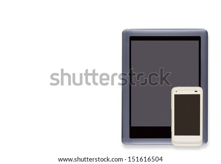 Digital technology gadgets to stay connected. E reader and white cell phone, blank screens, isolated on a white background. Soft drop shadow. Horizontal photo. Room for text, copy space. - stock photo